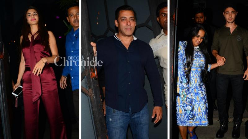 Salman Khan, Jacqueline Fernandez and several other stars were seen at the birthday bash of Aayush Sharma on Wednesday night. (Photo: Viral Bhayani)