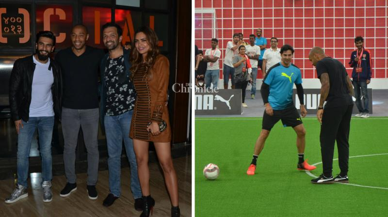 Football legend Thierry Henry has arrived in Mumbai for a promotional event and while Bollywood stars including Ranveer Singh, Esha Gupta were snapped with him at a bash, Dino Morea, Neha Dhupia and Harshvardhan Kapoor were seen interacting with him while playing football on Wednesday. (Photo: Viral Bhayani)