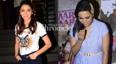 Anushka Sharma and Swara Bhaskar hosted a screening of her respective films 'Phillauri' and 'Anaarkali of Aarah' on Thursday in Mumbai, just a day before the release. (Photo: Viral Bhayani)