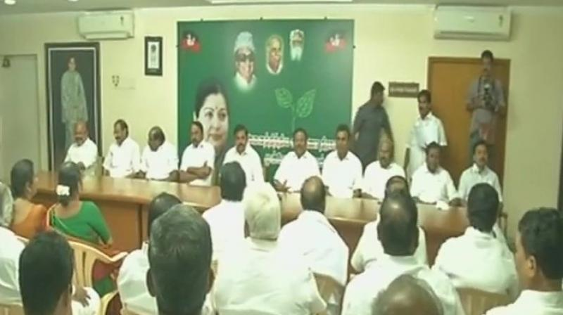 The Amma faction of the AIADMK, led by Tamil Nadu Chief Minister E Palanisamy, met at the party headquarters in Chennai on Thursday. (Photo: ANI/Twitter)