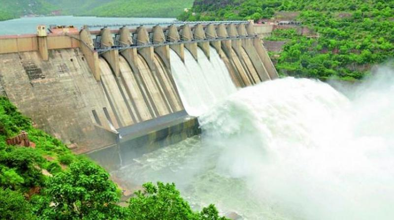AP minister opens two gates of Srisailam dam