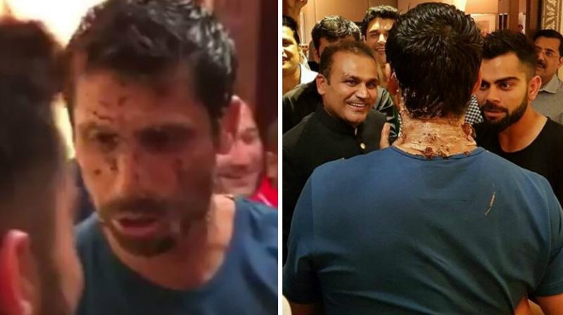 In a video, which has gone viral, Virat Kohli was seen feeding Ashish Nehra a cake and the left-arm pacer returning the favour. (Photo: Twitter / @dhonikohli_fc)