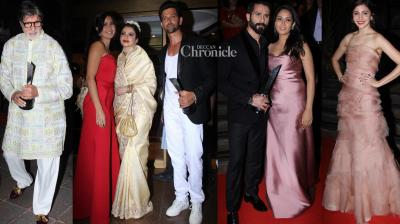 Bollywood stars were snapped in their glamorous best while arriving for the Hello Hall of Fame Awards held in Mumbai on Tuesday. (Photo: Viral Bhayani)