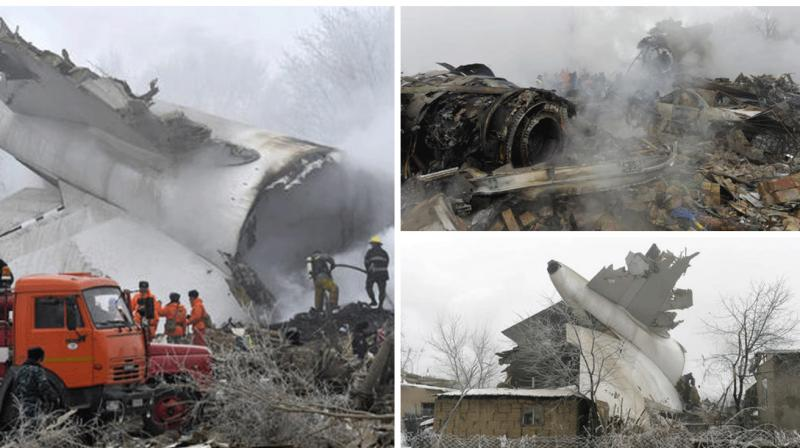 A cargo plane crashed on Monday in a residential area just outside the main airport in Kyrgyzstan, killing at least 37 people, the Emergency Situations Ministry said.