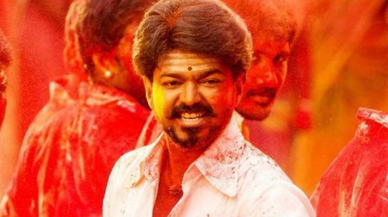 Vijay in a still from the Aalaporan Thamizhan track from Tamil movie 'Mersal'.