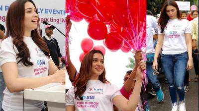 Tamannaah Bhatia participated in the Pink Ribbon Walk in Hyderabad on Sunday to spread awareness about breast cancer. (Photos: Twitter)
