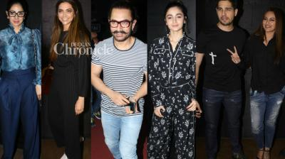 For the third day in a row, Aamir Khan hosted a screening of his release 'Secret Superstar' for Bollywood celebrities in Mumbai on Thursday. (Photo: Viral Bhayani)