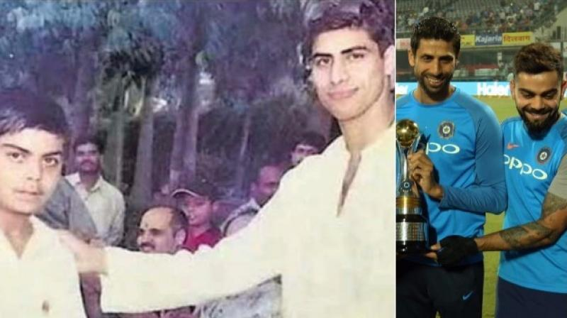 """Asked about a photo of Nehra giving an award to a young Kohli long time back, the Indian captain said, """"That was back in 2003 after he had come back from the World Cup. I was 13 then and struggling for a place in the school team."""" (Photo: Twitter/BCCI)"""