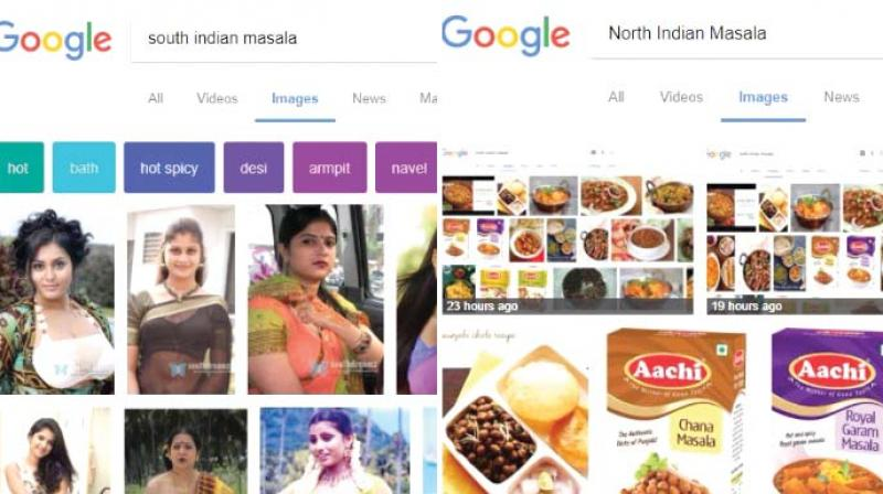 While search for 'South Indian Masala' delivers steamy pictures of buxom women (L), the search for 'North Indian Masala' throws up varieties of spices and north Indian dishes.
