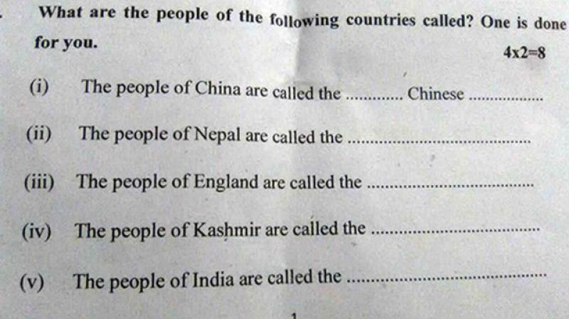 Kashmir is a different country: Bihar question paper gaffe