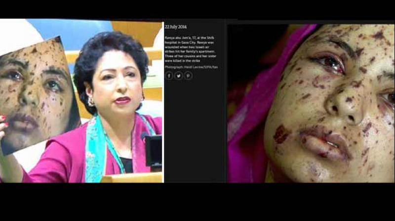 Image result for Pak's UN envoy tries to pass off Gaza image as Kashmir