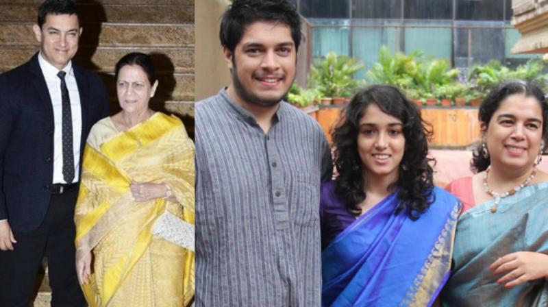Superstar Aamir Khan with mother Zeenat Hussain, son Junaid, daughter Ira and first wife Reena Dutta.