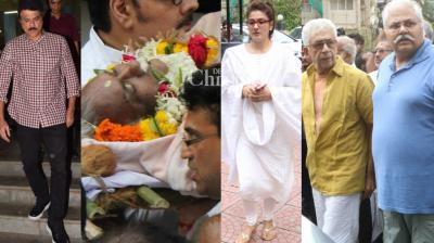 Bollywood stars turned up at the funeral of Kundan Shah, known for directing classics like 'Jaane Bhi Do Yaaro' among others, in Mumbai on Saturday. (Photo: Viral Bhayani)