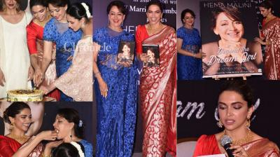 Deepika Padukone launched the biography of veteran actress-Member of Parliament Hema Malini at an event in Mumbai on Monday. (Photo: Viral Bhayani)