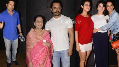 Aamir Khan held a screening of his upcoming film 'Secret Superstar' in Mumbai on Monday where celebrities from various fields were spotted. (Photo: Viral Bhayani)