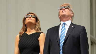 Even the US President Donald Trump and First Lady Melania could not resist themselves from watching the rare solar eclipse that swept the States for the first time in nearly a century.