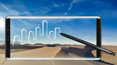 "At an event in New York City, Samsung gave its stalwarts the big-screened ""phablet"" Galaxy Note 8, along with an S Pen."