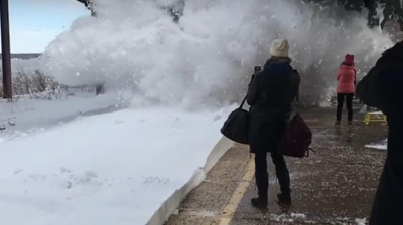 Amtrak train in Rhinecliff blasts people on platform with snow