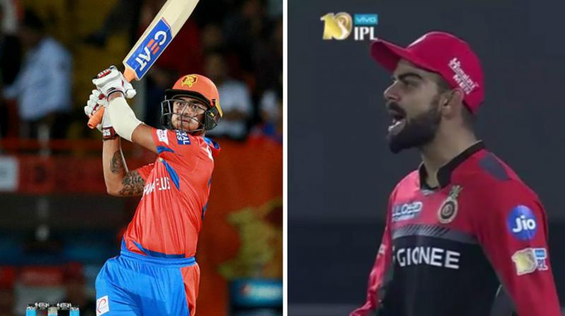 Royal Challengers Bangalore and Team India skipper Virat Kohli had a go at young Ishan Kishan during Bengaluru side's game against Suresh Raina-led Gujarat Lions. (Photo: BCCI / Screengrab)