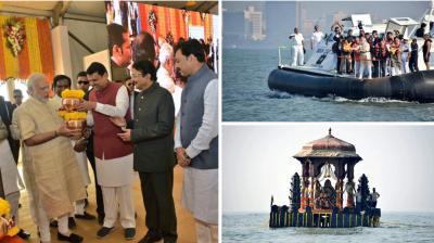 Prime Minister Narendra Modi on Saturday laid the foundation stone for the grand memorial of Maratha warrior king Chhatrapati Shivaji Maharaj on board a hovercraft in the Arabian Sea off Mumbai coast.