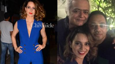 Kangana Ranaut and the team of the film 'Simran' held a wrap-up party late Sunday. (Photo: Viral Bhayani/ Twitter)