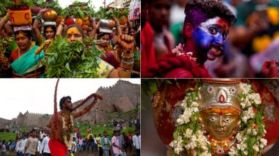 Bonalu is a month long Hindu folk festival of the Telangana region dedicated to Kali, the Hindu goddess of destruction. (Photo: AP)