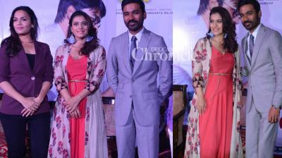 The team of 'VIP 2'. led by Dhanush, Soundarya Rajinikanth and Kajol promoted the film in New Delhi on Monday. (Photo: Viral Bhayani)