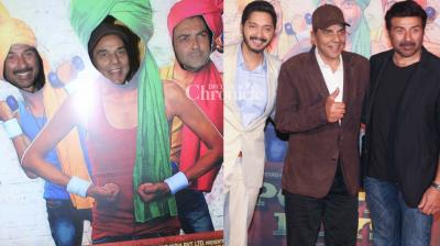 Dharmendra was the star attraction at the trailer launch of the film 'Poster Boys' which features his sons Sunny and Bobby and Shreyas Talpade in Mumbai on Monday. (Photo: Viral Bhayani)