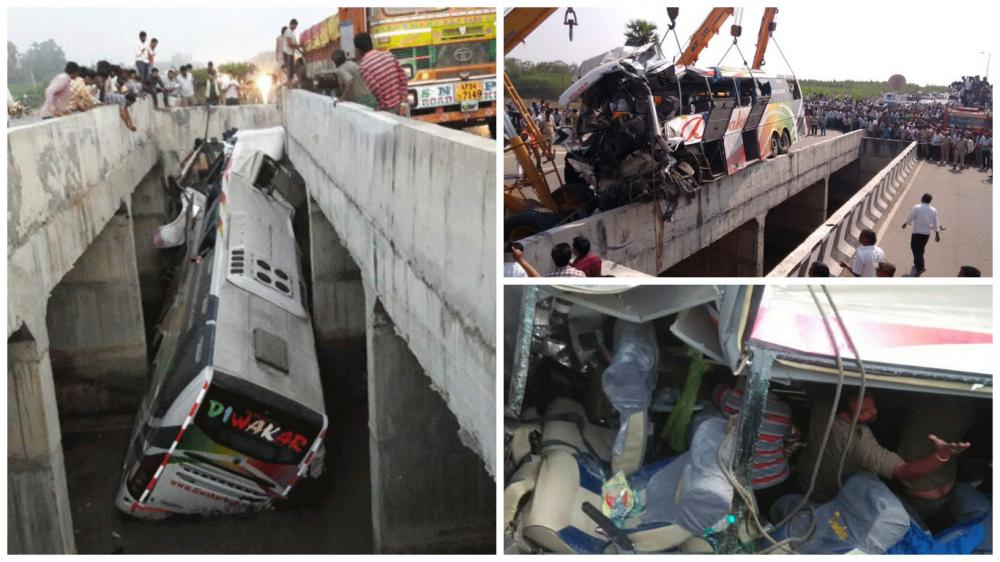 11 people were killed and at least 30 others injured after a private bus heading to Bhubaneswar from Hyderabad fell into a river near Vijayawada in Andhra Pradesh early morning on Tuesday. (Photo: Deccan Chronicle)