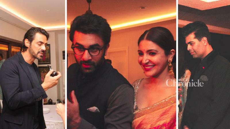 'Ae Dil Hai Mushkil' stars Ranbir Kapoor, Anushka Sharma and Karan Johar as well as several other stars were present at a friend's Diwali bash on Monday night. (Photo: Viral Bhayani)