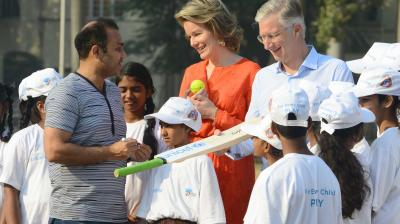 Mumbai-Belgium's Queen Mathilde and King Philippe were seen playing cricket at Oval Maidan in Mumbai advocating for children's right to play and learn during. (Photo: Rajesh Jadhav)