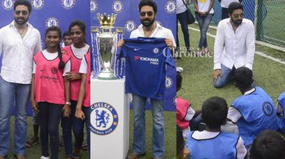 Abhishek Bachchan was snapped at an event for popular UK football club Chelsea in Mumbai on Saturday. (Photo: Viral Bhayani)