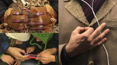 26-year-old photographer Hannah Ryan has captured a variety of hands between Brooklyn and Manhattan on her phone which she posted on Instagram. (Photo: Instagram/@subwayhands)