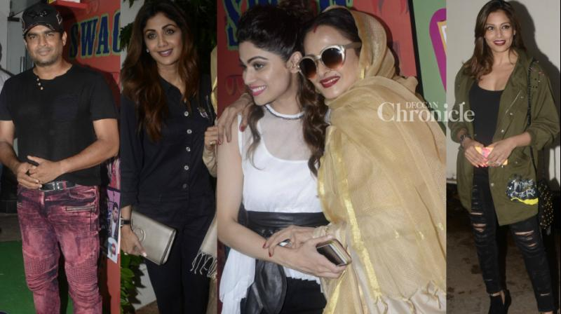 Bollywood stars came out in good numbers to back Shamita Shetty's web series 'Yo Ke Hua Bro' in Mumbai on Friday, which included Rekha, R Madhavan, Bipasha Basu and many others. (Photo: Viral Bhayani)