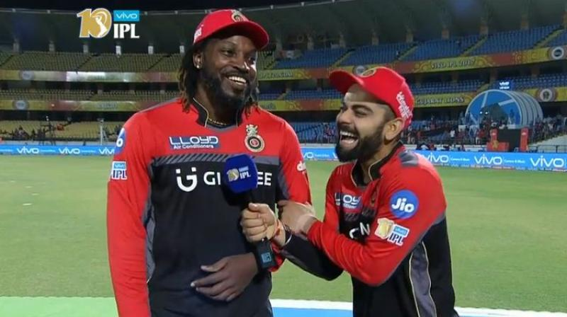 While Chris Gayle blazed his way to a 38-ball 77, Virat Kohli brought up his second fifty in three matches this season. (Photo: IPL/ Screengrab)