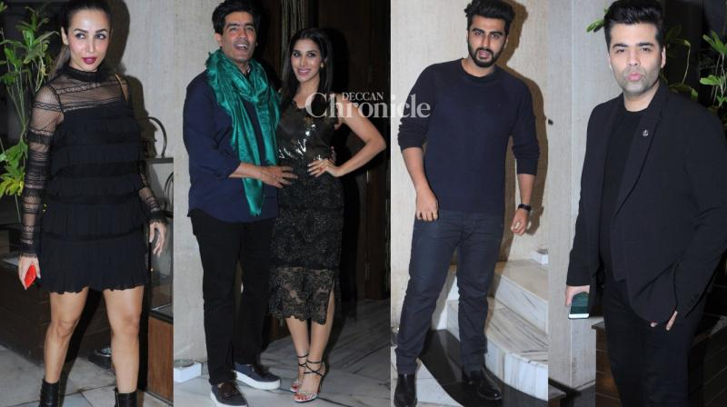 Several Bollywood stars were seen arriving at Manish Malhotra's residence to celebrate Sophie Choudry's birthday late Monday. (Photo: Viral Bhayani)