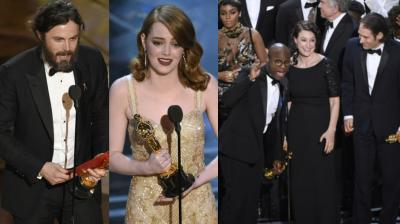 Some of the winners at the 89th Academy Awards 2017 were excited while some could not hold their emotions as they arrived on the stage to collect their trophies. (Photos: AP)