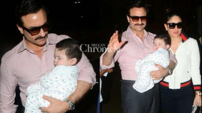 Saif Ali Khan and Kareena Kapoor Khan were snapped at the Mumbai airport on Tuesday as they departed for Switzerland for their first vacation with son Taimur. (Photo: Viral Bhayani)