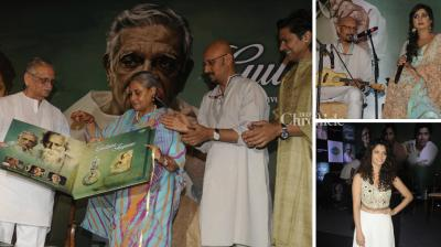 Jaya Bachchan, Shreya Ghoshal, Shaaan, Shantanu Moitra, Bhupinder Singh, Saiyami Kher were present at the launch of Gulzar's album on Rabindranath Tagore's poems, titled 'In Conversation with Tagore'. Gulzar will recite a few lines in the poems translated by him and they will be sung by Shreya and Shaan, with music given by Shantanu Moitra. (Photo: Viral Bhayani)