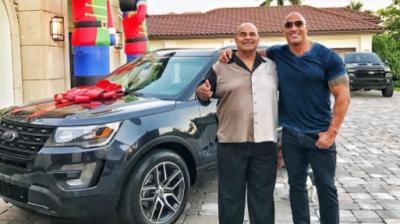 Dwayne Johnson buys his father new car as Christmas present