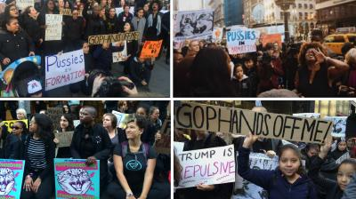 Crowds of women converged on Chicago's Trump Tower Tuesday in the latest of a string of protests over Donald Trump's incendiary comments on women, brandishing signs saying