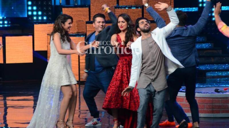 'Meri Pyaari Bindu' leads Parineeti Chopra and Ayushmann Khurrana promoted their film on the reality show 'Nach Baliye' on Tuesday. (Photo: Viral Bhayani)