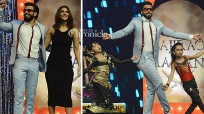 Ranveer Singh and Vaani Kapoor promoted their film 'Befikre' on the reality show 'Super Dancer' on Sunday. (Photo: Viral Bhayani)