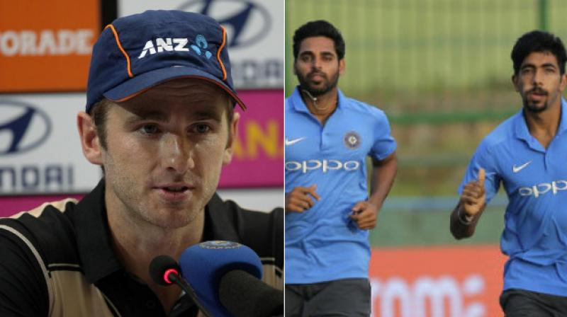 The Indian pace duo of Bhuvneshwar Kumar and Jasprit Bumrah came in for praise and Kane Williamson called them the most consistent bowlers in the world. (Photo: BCCI / AP)