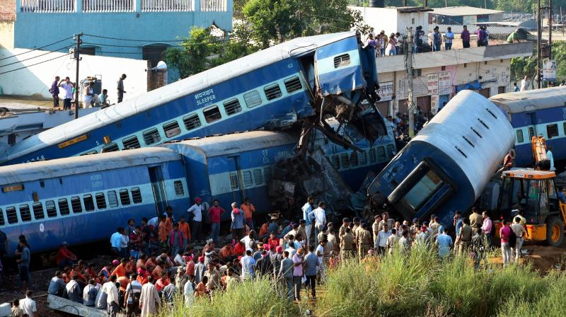 Coaches of the Puri-Haridwar Utkal Express train after it derailed in Khatauli near Muzaffarnagar. (Photo: PTI)