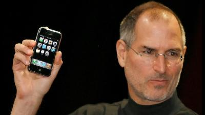 2007: Apple CEO Steve Jobs unveiling the first iPhone, the iPhone 2G. (Photo: AFP)