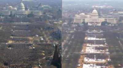 Images of comparisons between crowds at Trump's and Obama's inauguration hit the social media followed by comparisons with women's march (Photo: Twitter/Facebook)