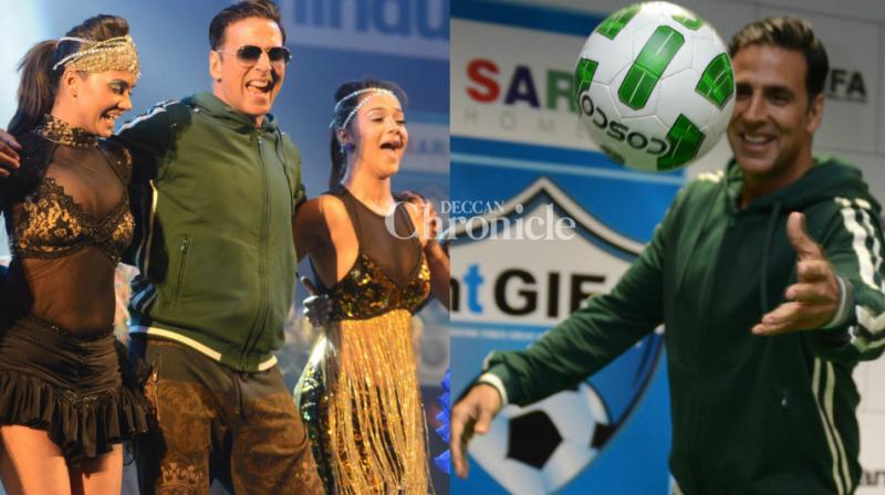 Akshay Kumar was at his lively best in his hometown Delhi while launching an inter-locality football tournament in the city on Saturday. (Photo: Viral Bhayani)