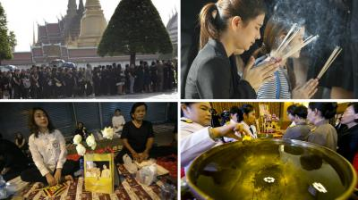 Millions of Thais donned black Friday as the grieving nation prepared to hold traditional Buddhist ceremonies for revered King Bhumibol Adulyadej, whose death leaves the country facing an uncertain new era.