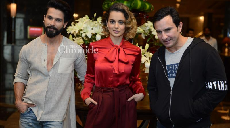 The leads of 'Rangoon' promoted the film in Delhi on Monday. (Photo: Viral Bhayani)